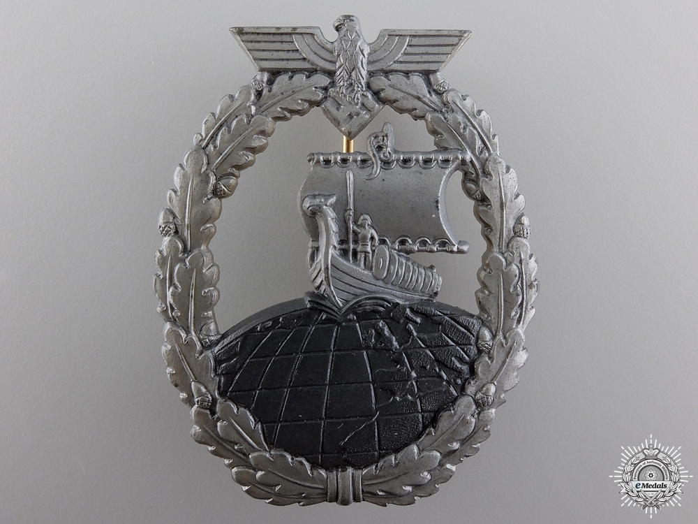 eMedals-A Kriegsmarine Naval Auxiliary Cruiser War Badge by Foerster & Barth Design