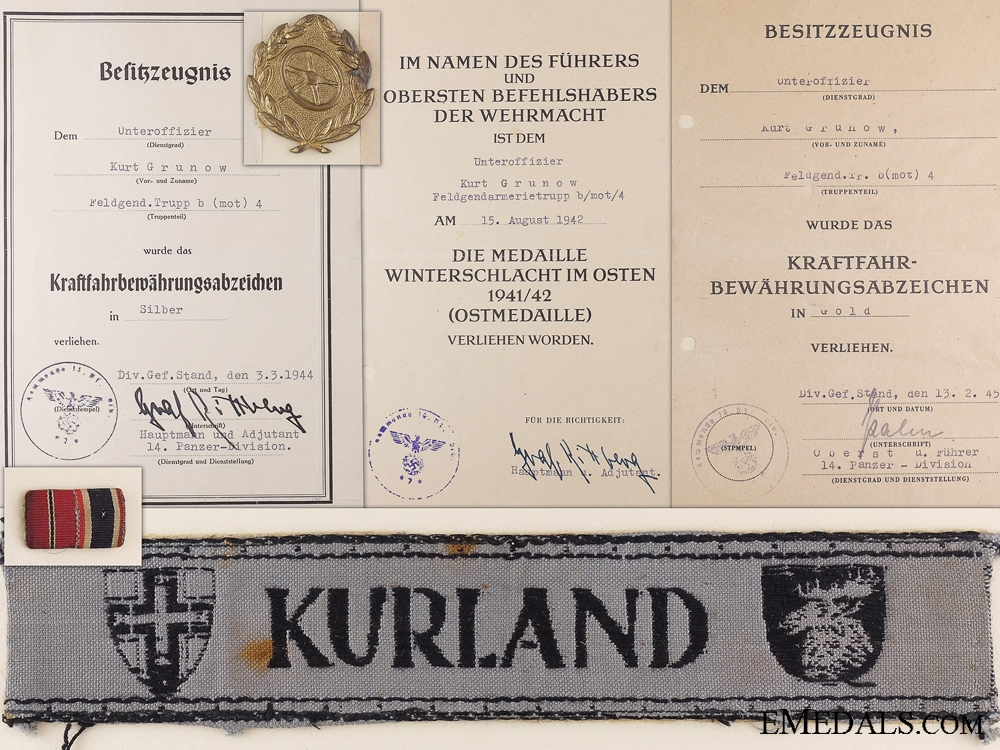 eMedals-A Kurland Cufftitle with Documents