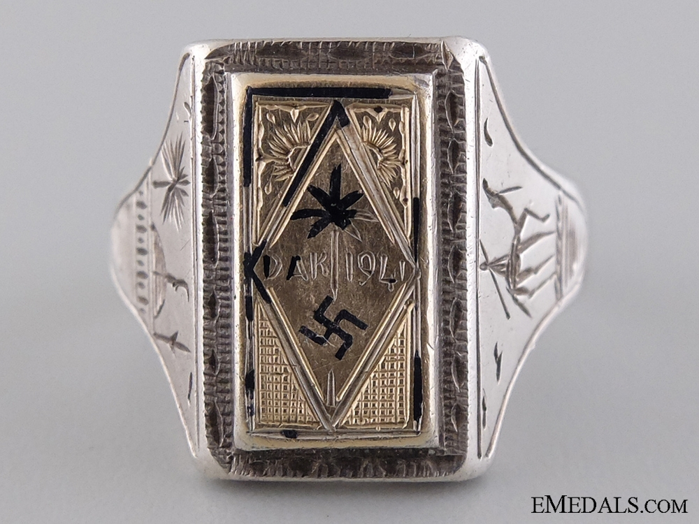 eMedals-A Large & Fine Afrikakorps Silver & Gold Ring