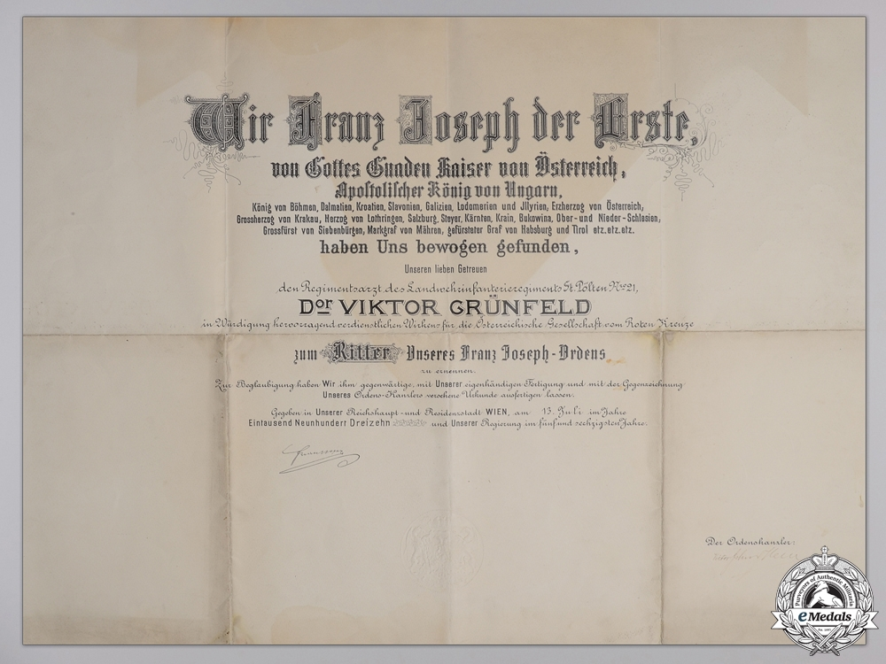 eMedals-A Large Franz Josef Award Document to Regiment Doctor 1913