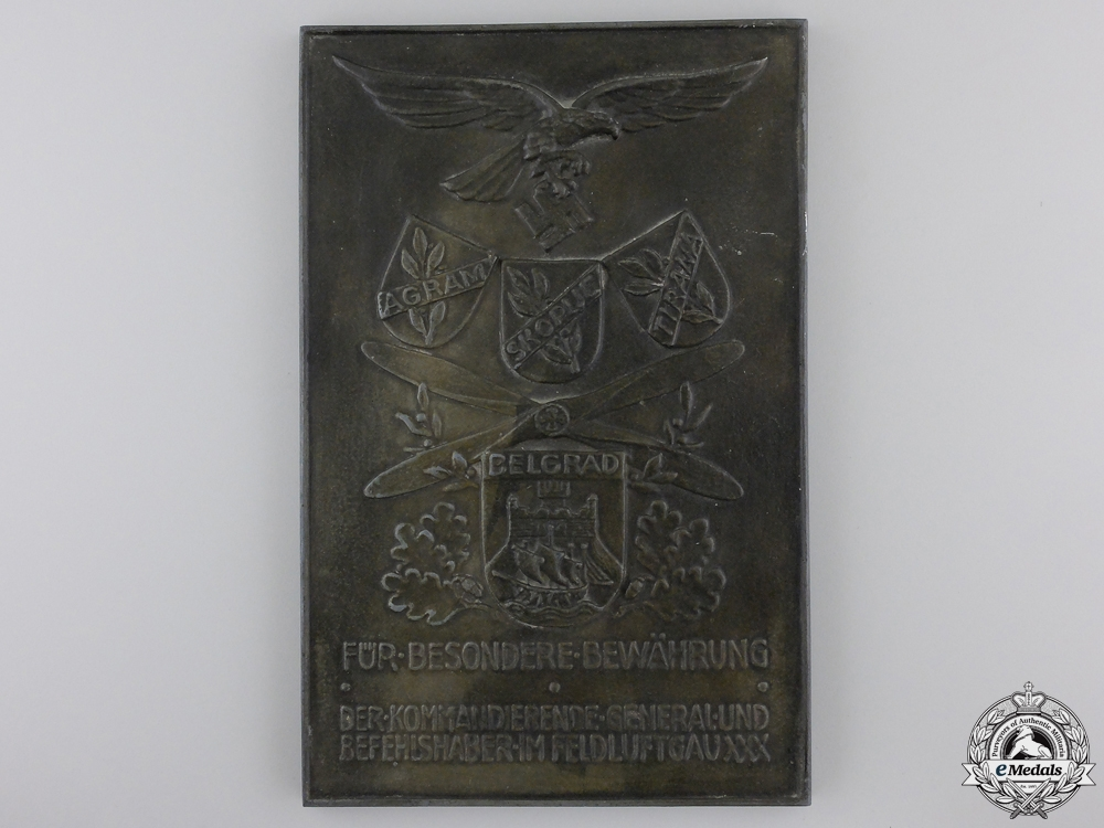 eMedals-A Luftwaffe Honour Plaque for Proof of Merit in the XXX Field Air District