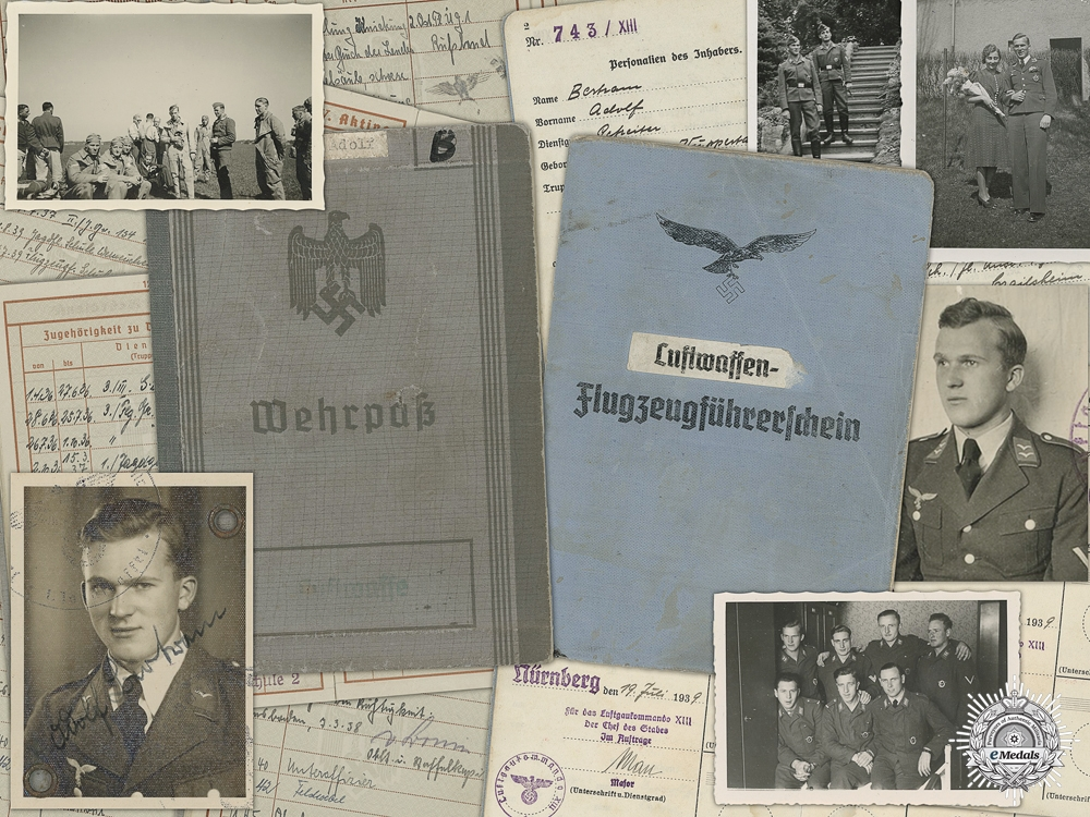 """eMedals-A Luftwaffe Wehrpass to Fighter Wing 134 """"Horst Wessel"""""""