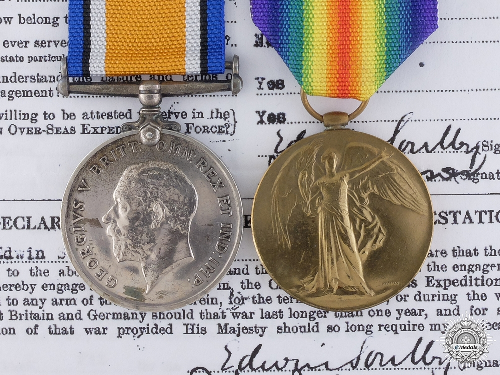 eMedals-A Medal Pair to Lt.Soubly who was Wounded at Frezenberg