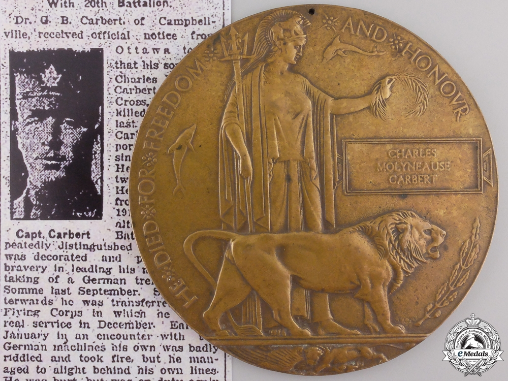 eMedals-A Memorial Plaque to Cpt.Carbert MC who was KIA with the RFC  consignment #28