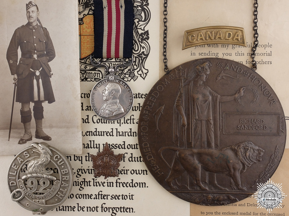 eMedals-A Military Medal Group to Company Sergeant Major Sandford 13th CAN INF.