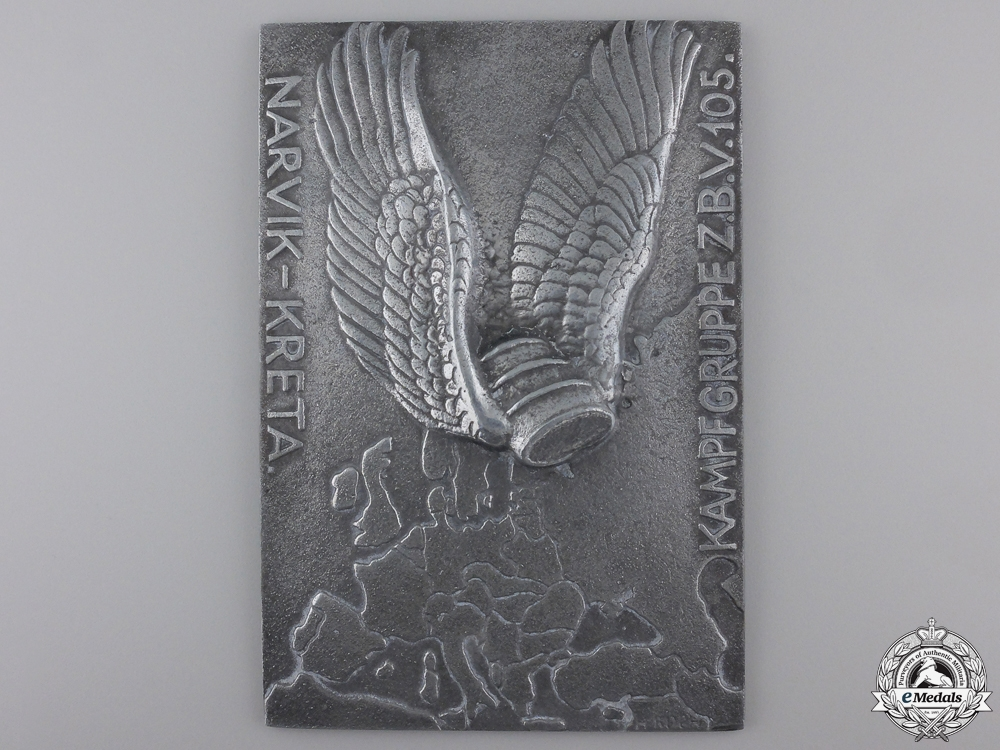 eMedals-A Narvik & Kreta Honor Plaque of the Fighter Group z.b.V. 105