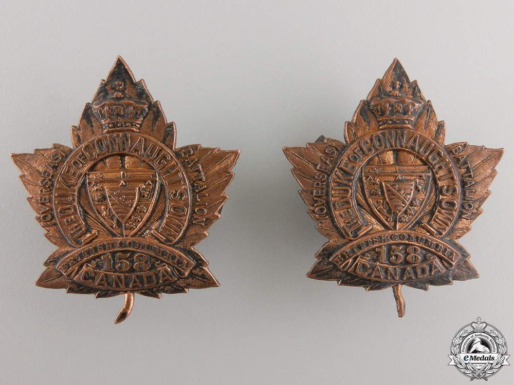 eMedals-A Pair of 158th Battalion Duke of Connaught's Own CEF Collar Badges