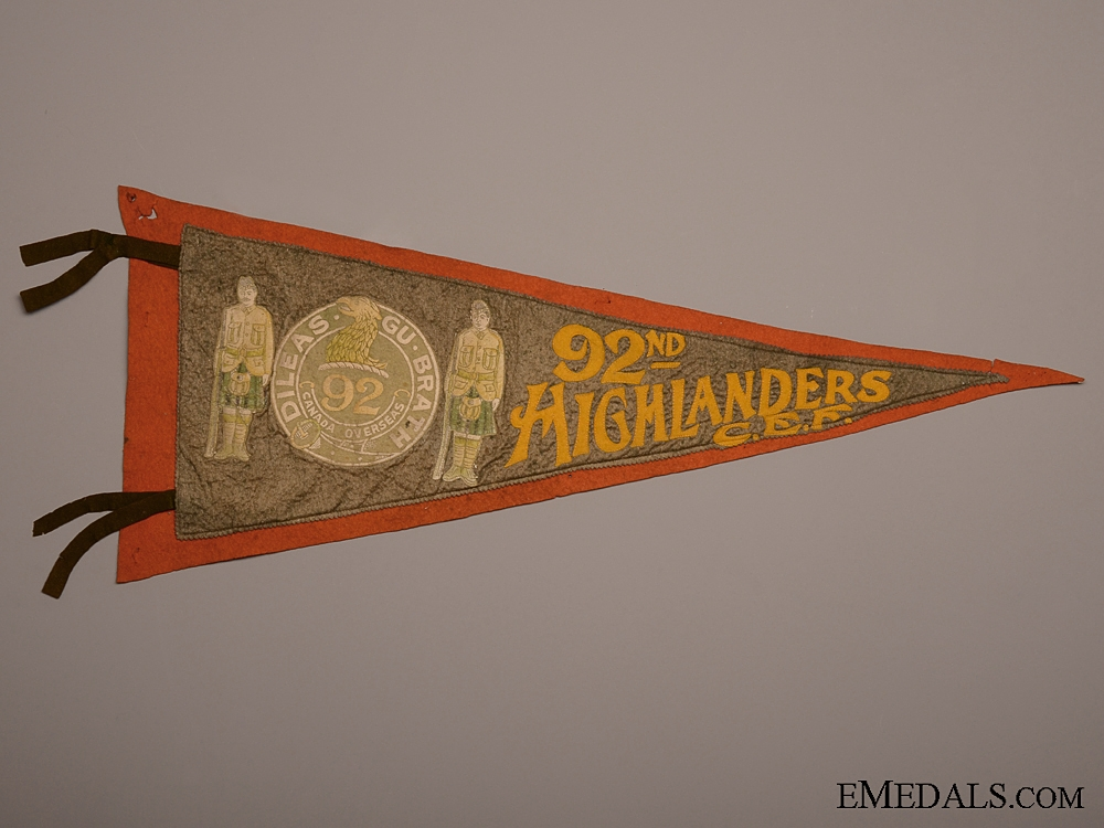 eMedals-A Rare 92nd Highlanders CEF Pennant