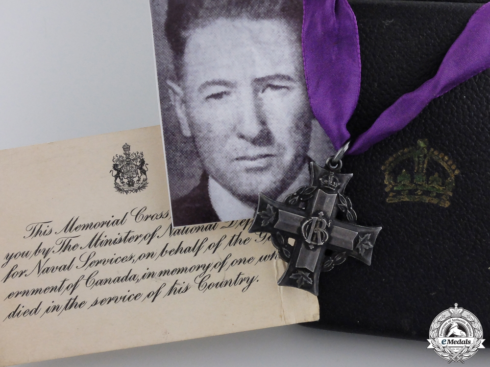 eMedals-A Rare Canadian Memorial Cross to HMCS Louisburg Casualty