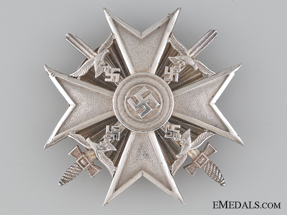 eMedals-A Scarce Spanish Cross with Swords; Silver Grade Screwback Version