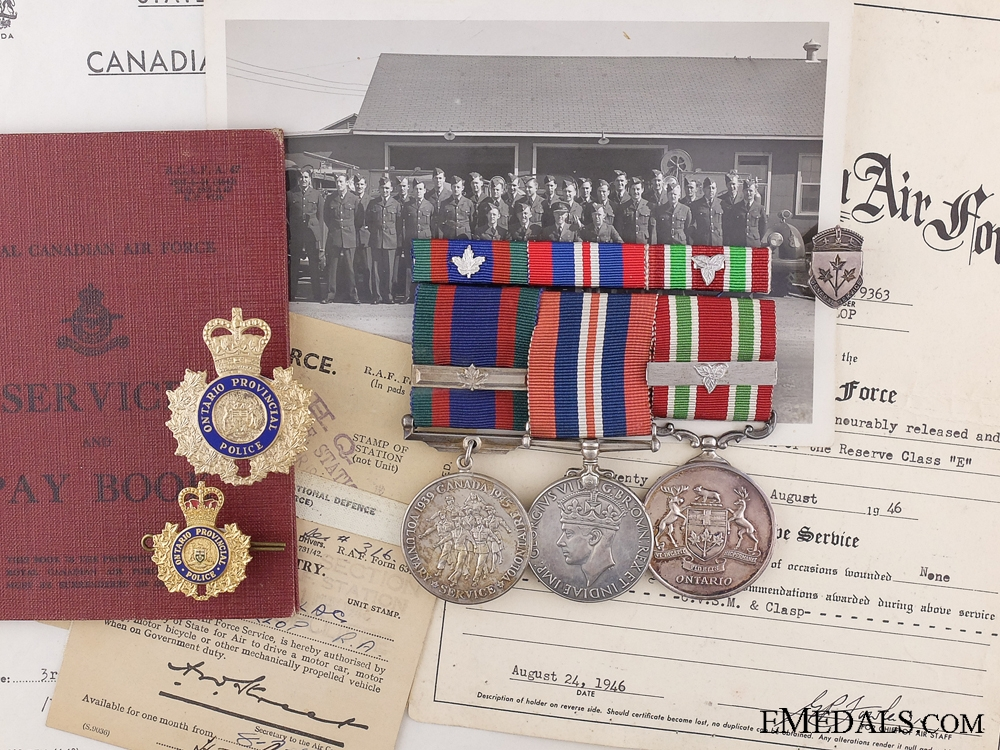 eMedals-A RCAF & OPP Long Service Medal Group to Corporal McKillop