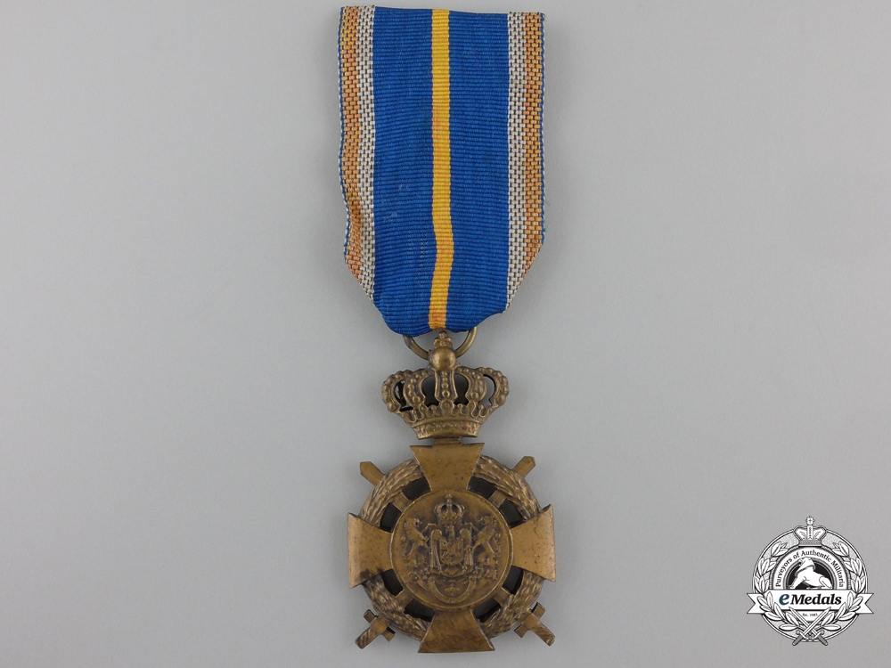 eMedals-A Romanian Loyal Service Cross with Crossed Swords; 3rd Class