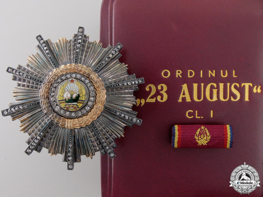 eMedals-A Romanian RPR 23rd August Order; 1st Class Breast Star in Gold  Consig #41