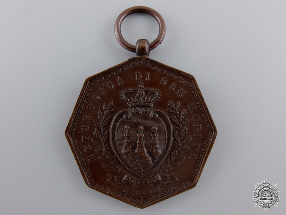 eMedals-A San Marino Medal for Merit; 2nd Type (1875), Scarce