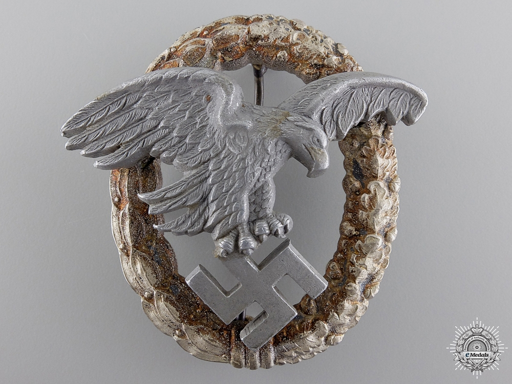 eMedals-A Scarce & Early Luftwaffe Observer' Badge with Aluminum Eagle