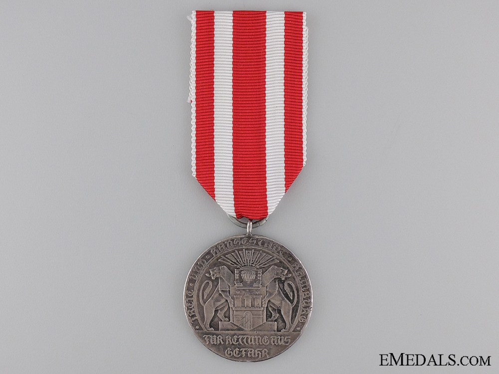 eMedals-A Scarce Silver Life Saving Medal from Hamburg 1918