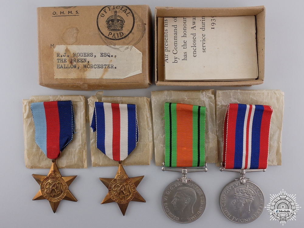 eMedals-A Second War British Group to R.J. Rogers; Worcester