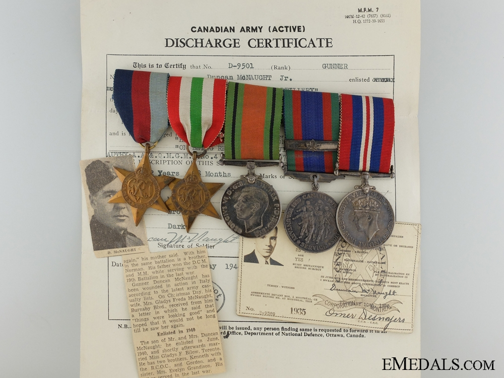 eMedals-A Second War Canadian Medal Group to the Canadian Artillery