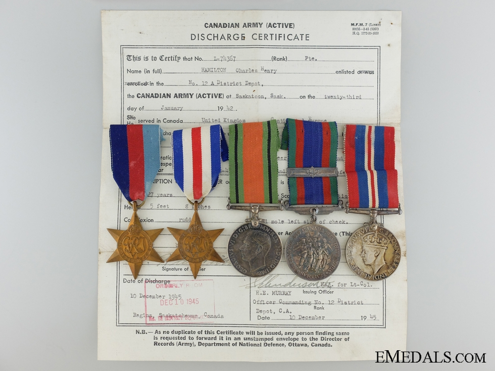 eMedals-A Second War Canadian Medal Group to Private Charles Hamilton