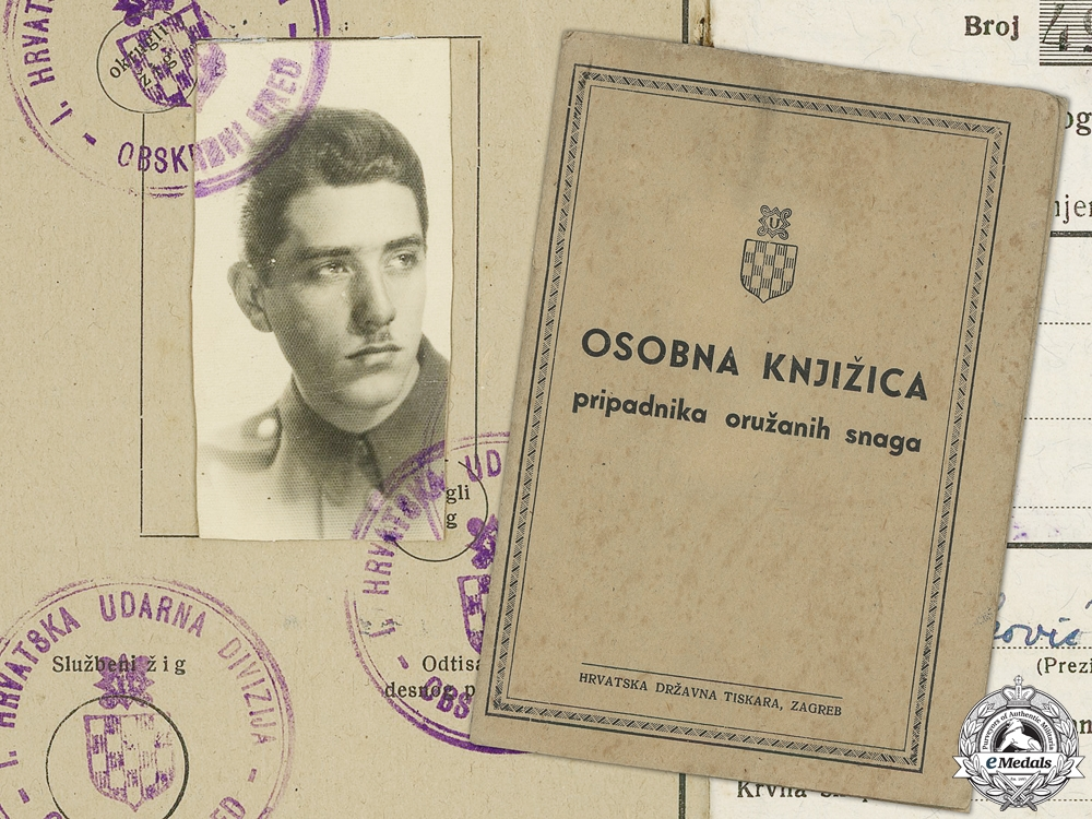 eMedals-A Second War Croatian Army Personal ID Booklet