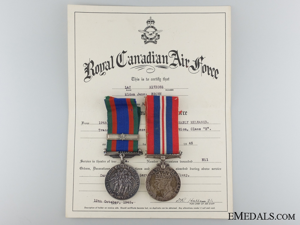 eMedals-A Second War Medal Pair to LAC Brown Royal Canadian Air Force