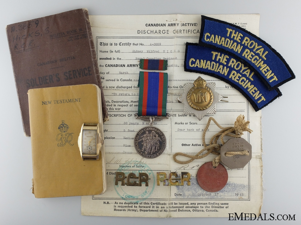 eMedals-A Second War Medal & Articles to the Royal Canadian Regiment