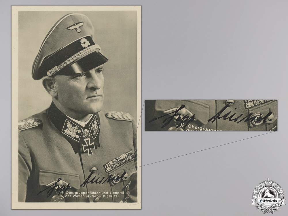 eMedals-A Sepp Dietrich Signed Picture Post Card