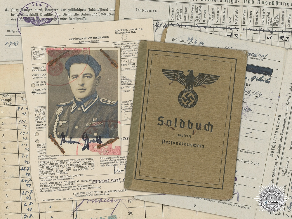 eMedals-A Soldbuch to the 5th Mountain Division; DKG Recipient
