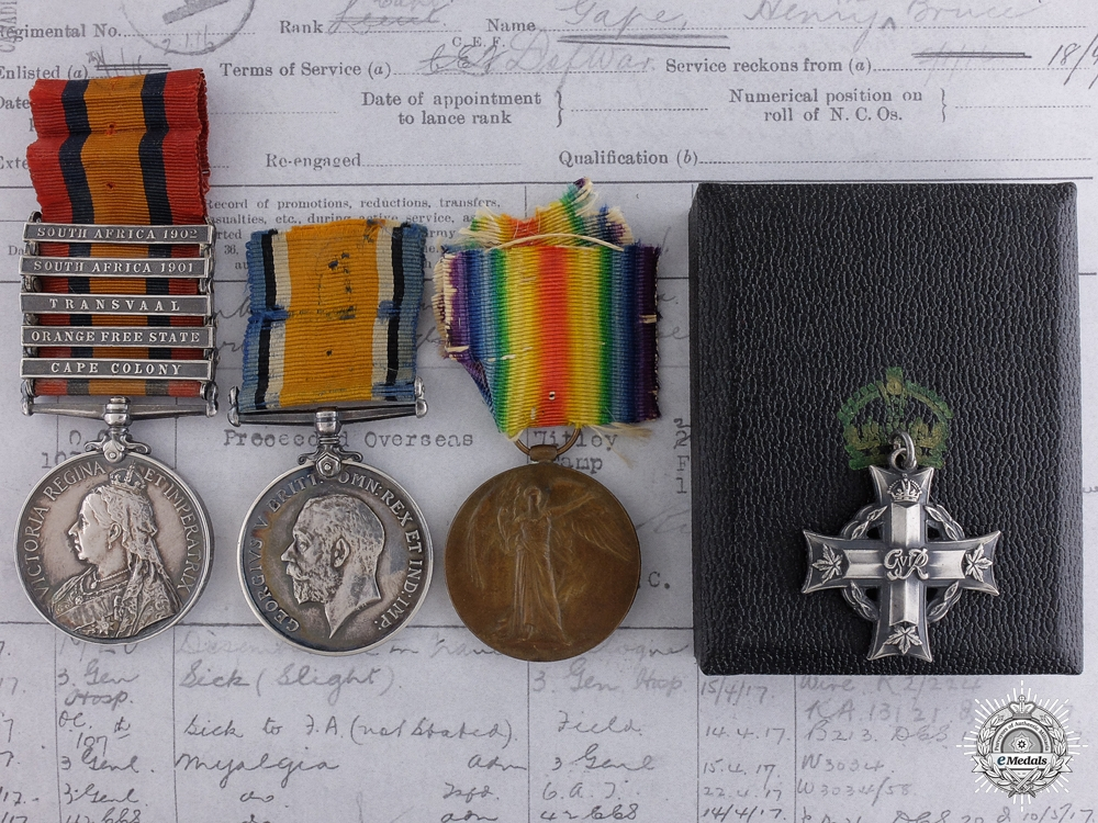eMedals-A South Africa & First War Memorial Group to Capt. Gape