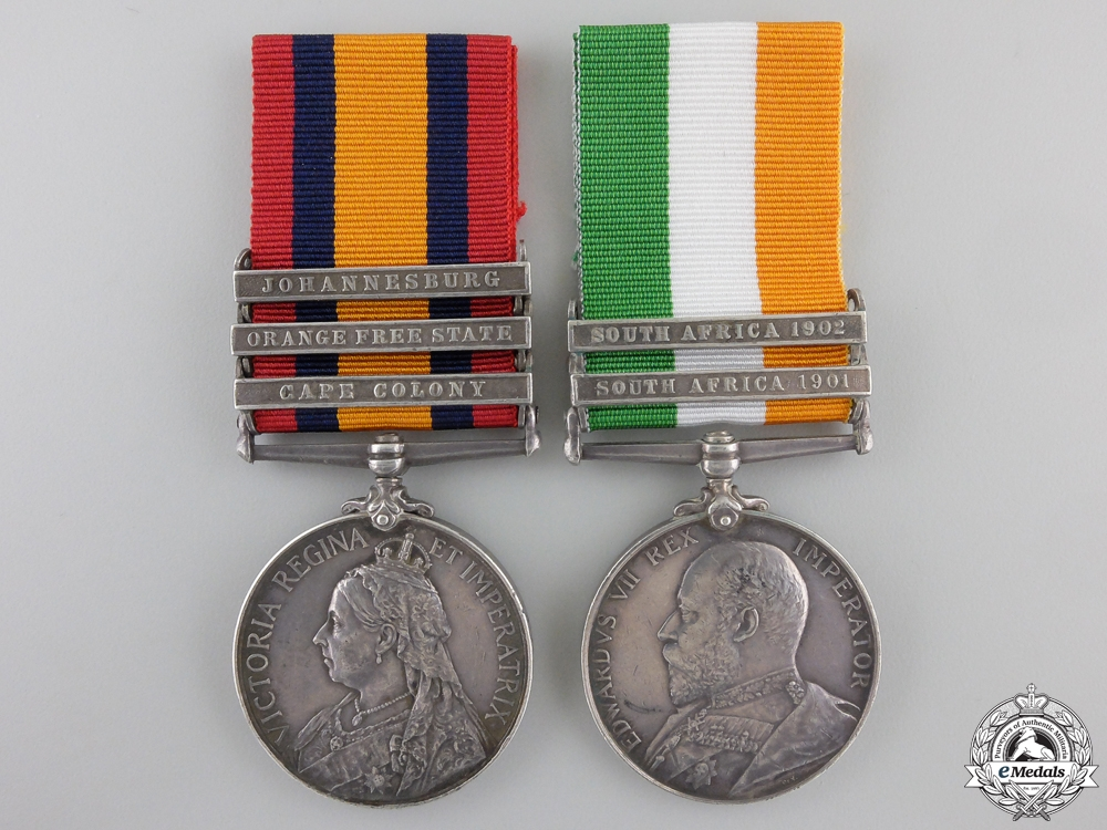 eMedals-A South Africa Medal Pair to the 7th Dragoon Gaurds  Consign #41