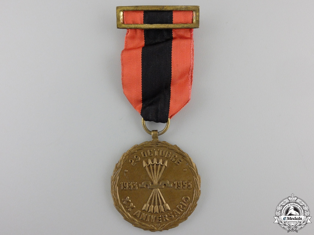eMedals-A Spanish 1933-1953 Twentieth Anniversary of the Founding of the Falange Party Medal