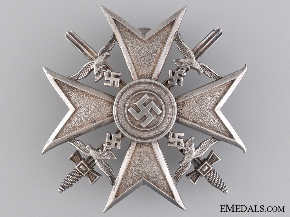 eMedals-A Spanish Cross in Silver with Swords; Marked 835