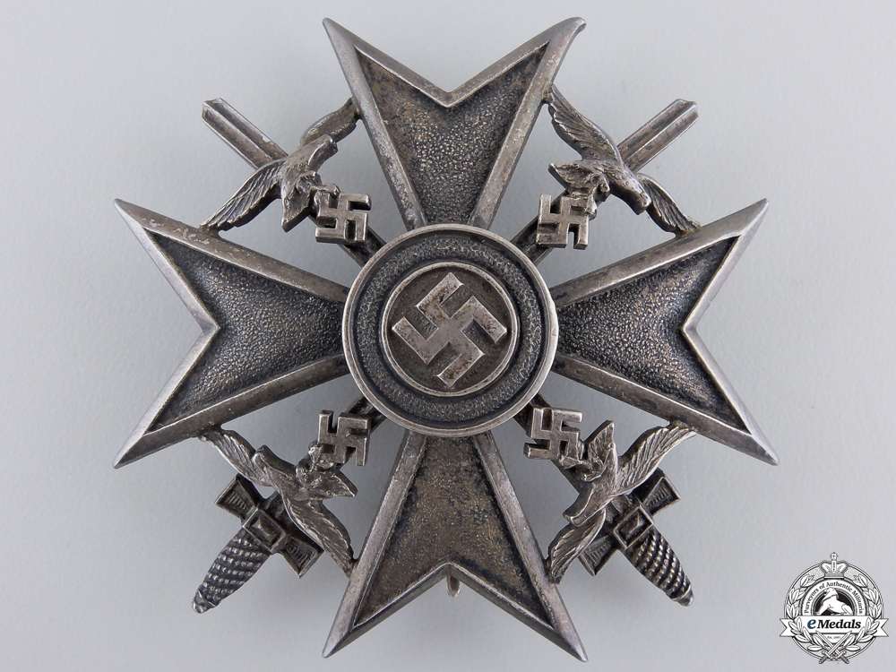 eMedals-A Spanish Cross in Silver with Swords by Meybauer, Berlin