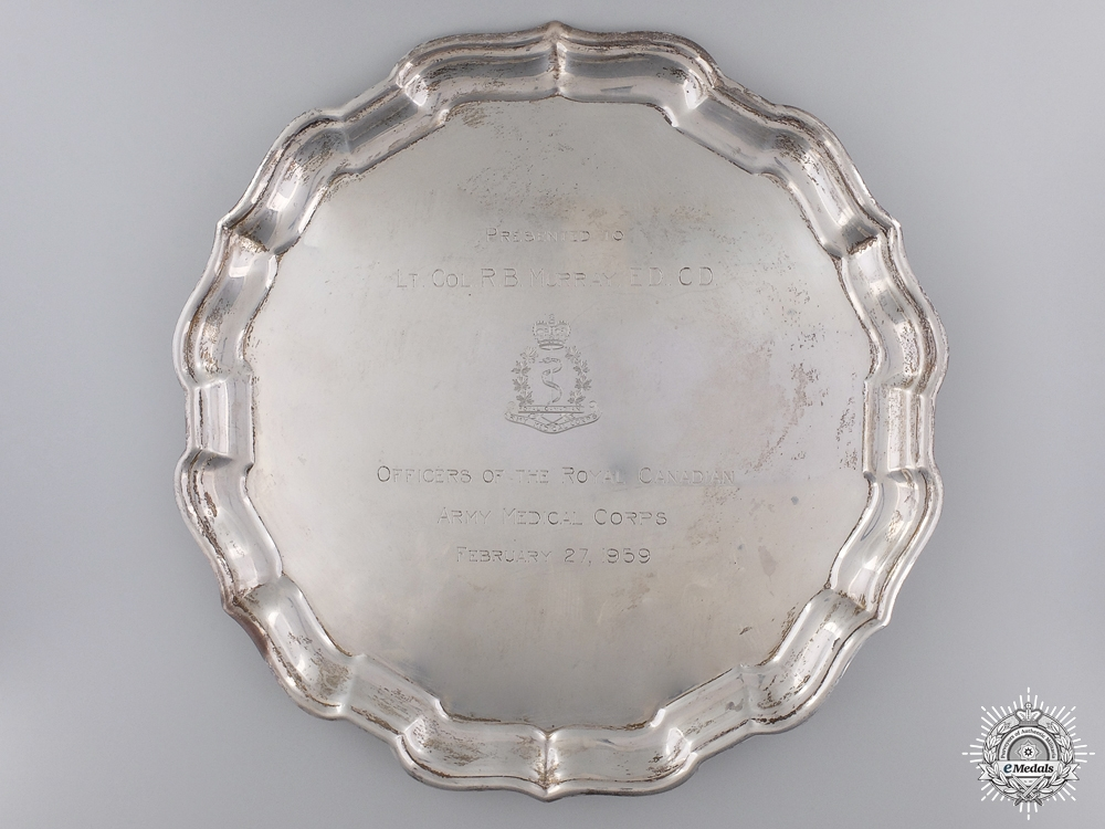 eMedals-A Sterling Silver RCAMC Presentation Plate to Lieutenant Colonel Murray