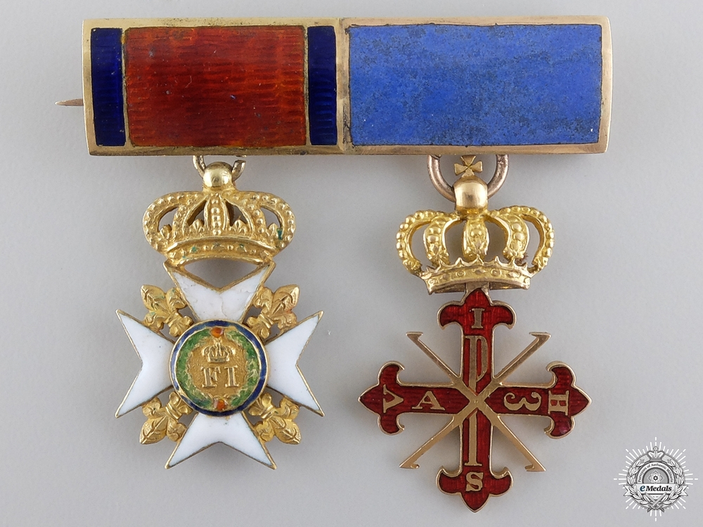 eMedals-A Superb Sicilian Miniature Pairing in Gold; c.1850