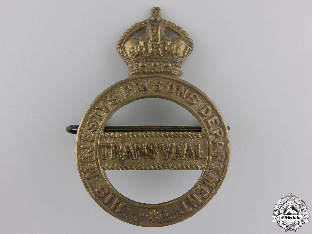 eMedals-A Transvaal South Africa Prison Department Helmet Badge