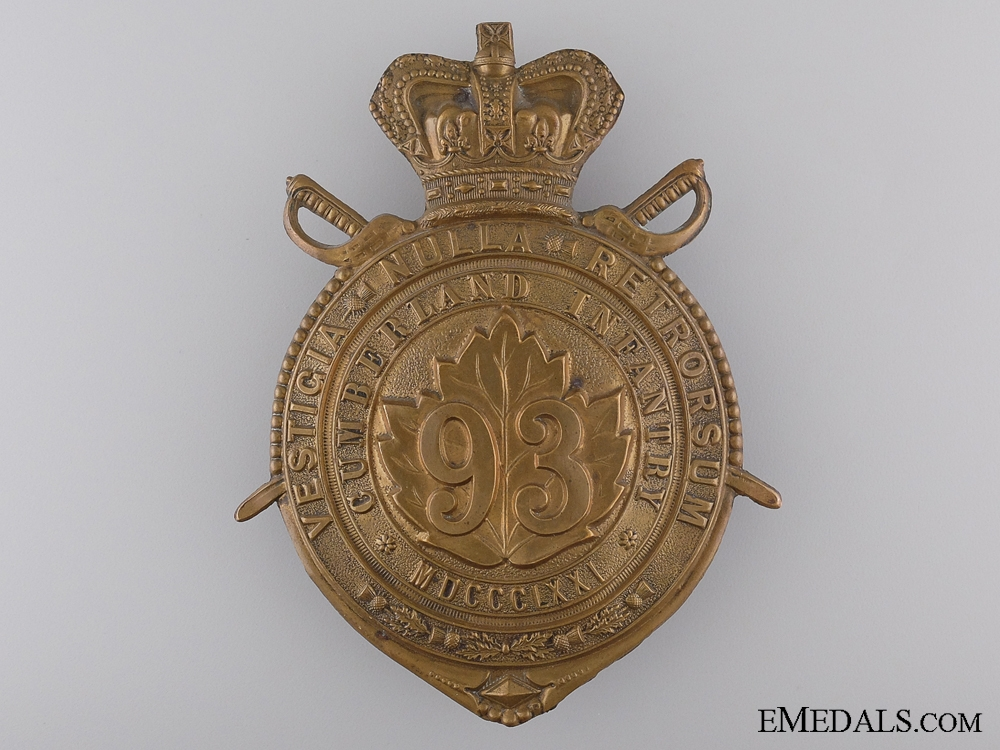 eMedals-A Victorian 93rd Cumberland Battalion of Infantry Helmet Plate c.1890