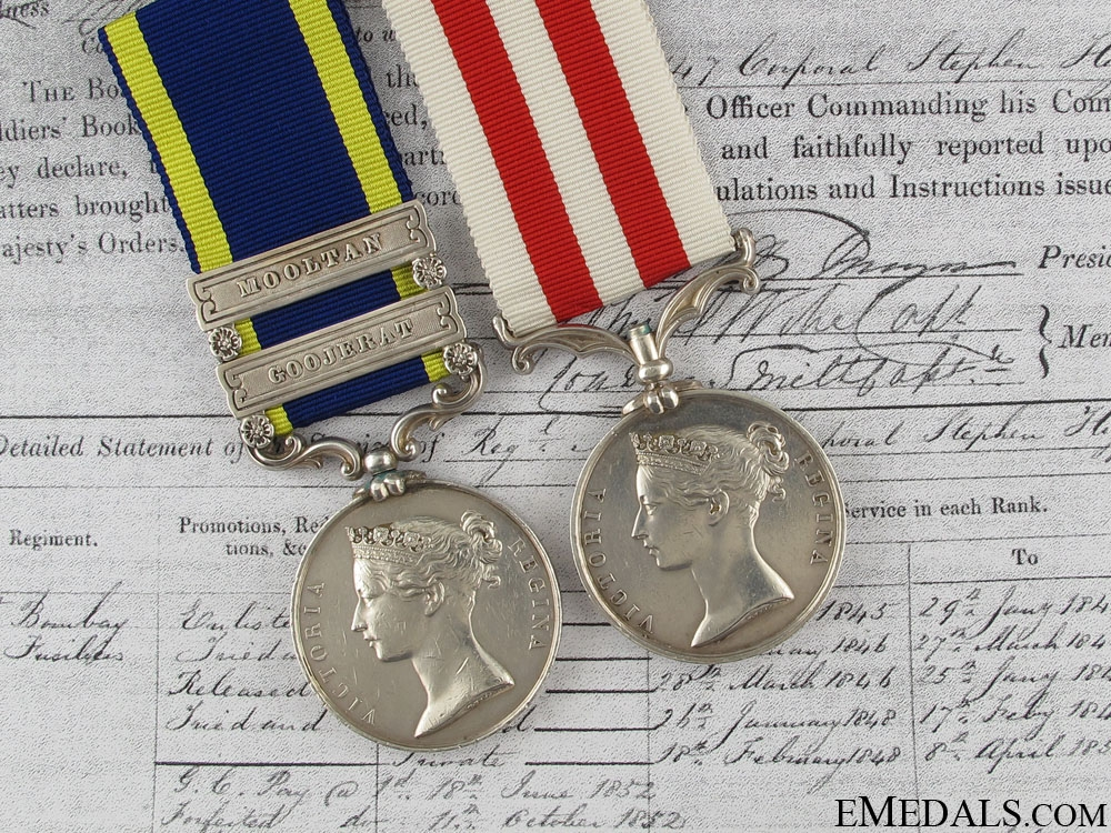eMedals-A Punjab & India Campaign Medal Pair tot 1st European Fusiliers