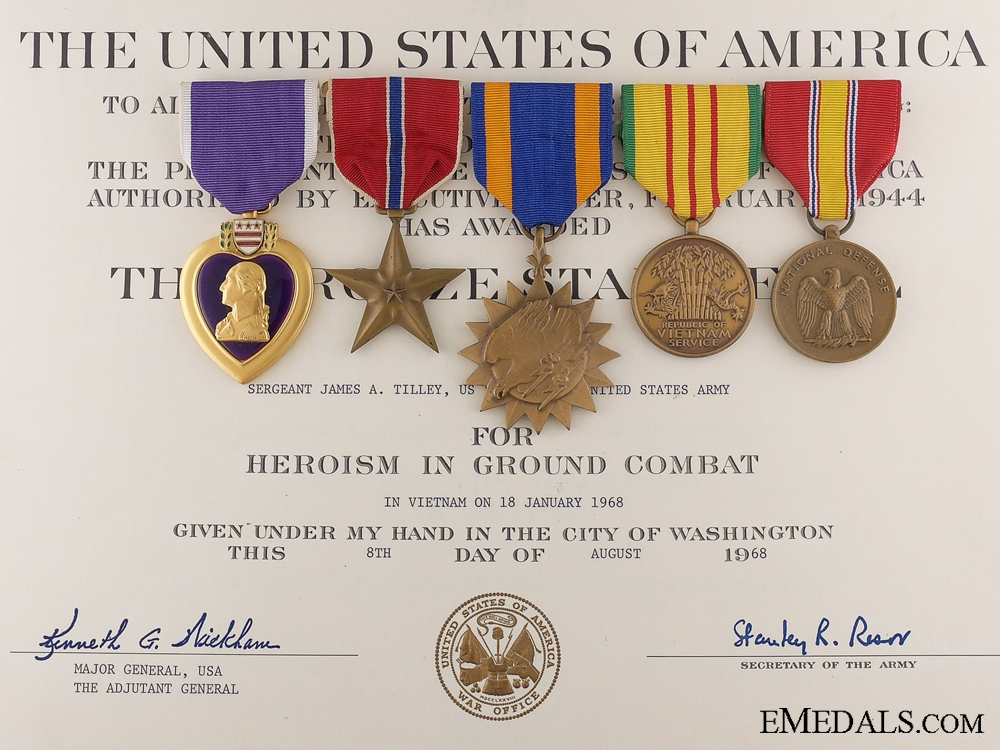 eMedals-A Vietnam Casualty Group to Sgt.Tilley; 1st Cavalry Division