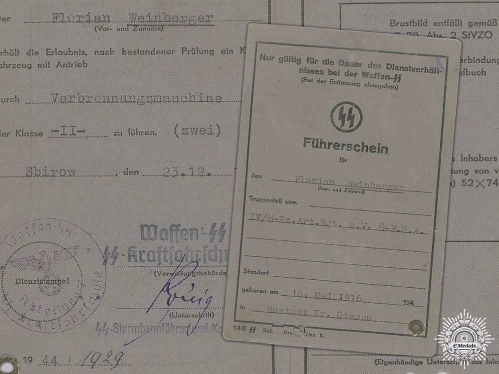 eMedals-A Waffen SS Driver's Licence Issued to the 4th SS Panzer Artillery Regiment