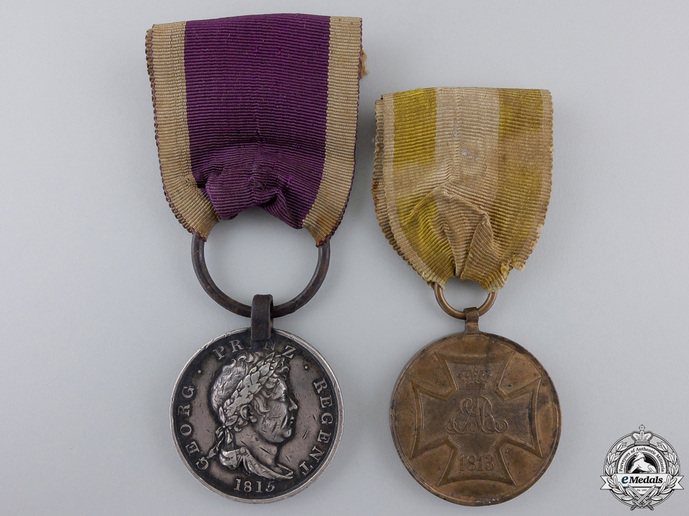 eMedals-A Waterloo Medal Pair to the Bremen Regiment