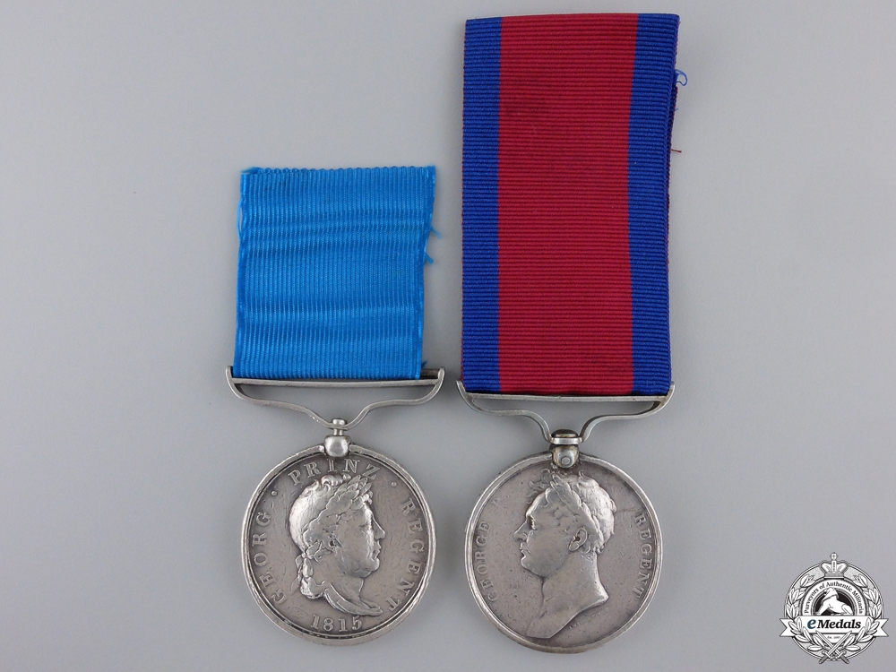 eMedals-A Waterloo Pair to the King's German Legion; Wounded at Battle of Ordal