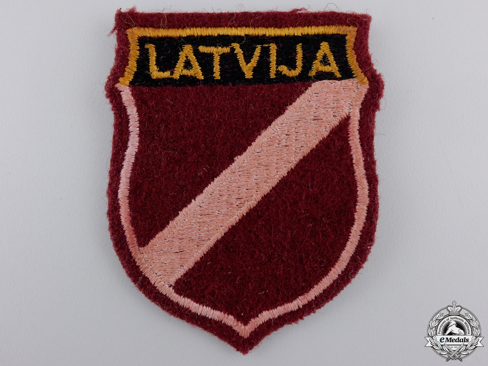 eMedals-A Rare Wehrmacht Army Latvian Volunteer Sleeve Badge