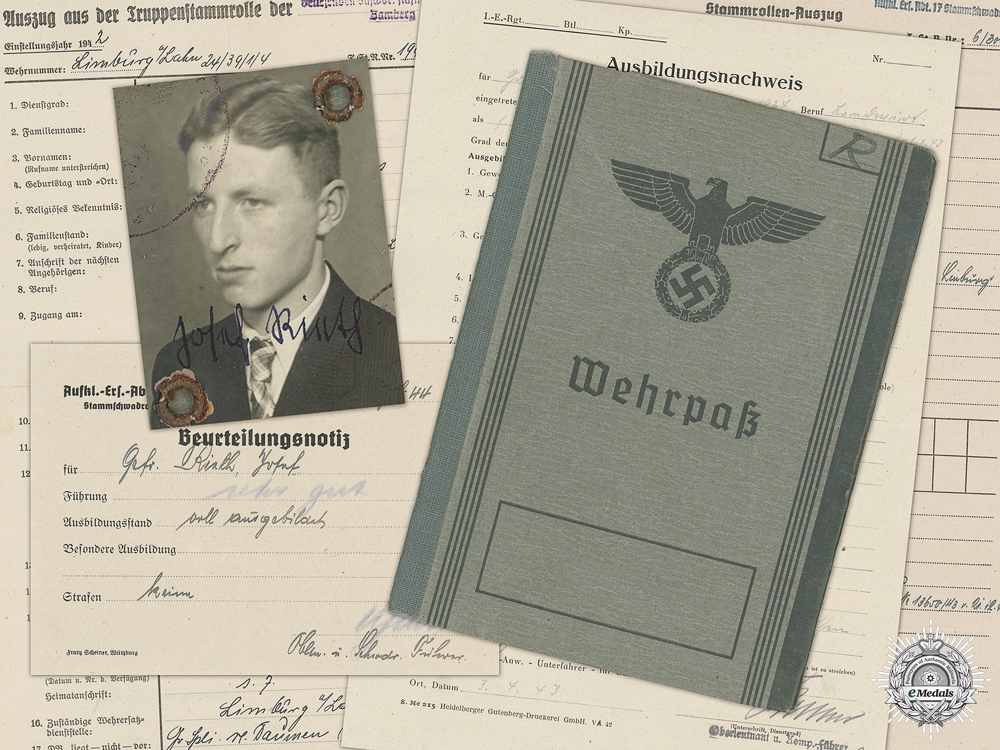 eMedals-A Wehrpas to the 321st  Grenadier Battalion; Wounded in Russia