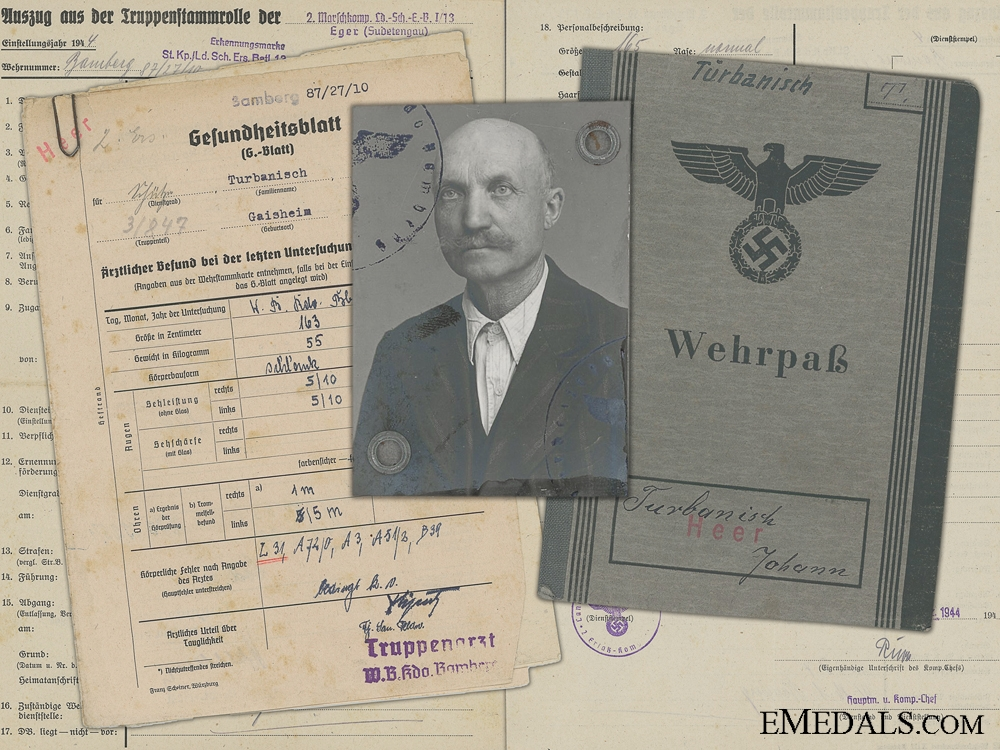 eMedals-A Wehrpass & Records to the 13th Reserve Territorial Infantry Battalion