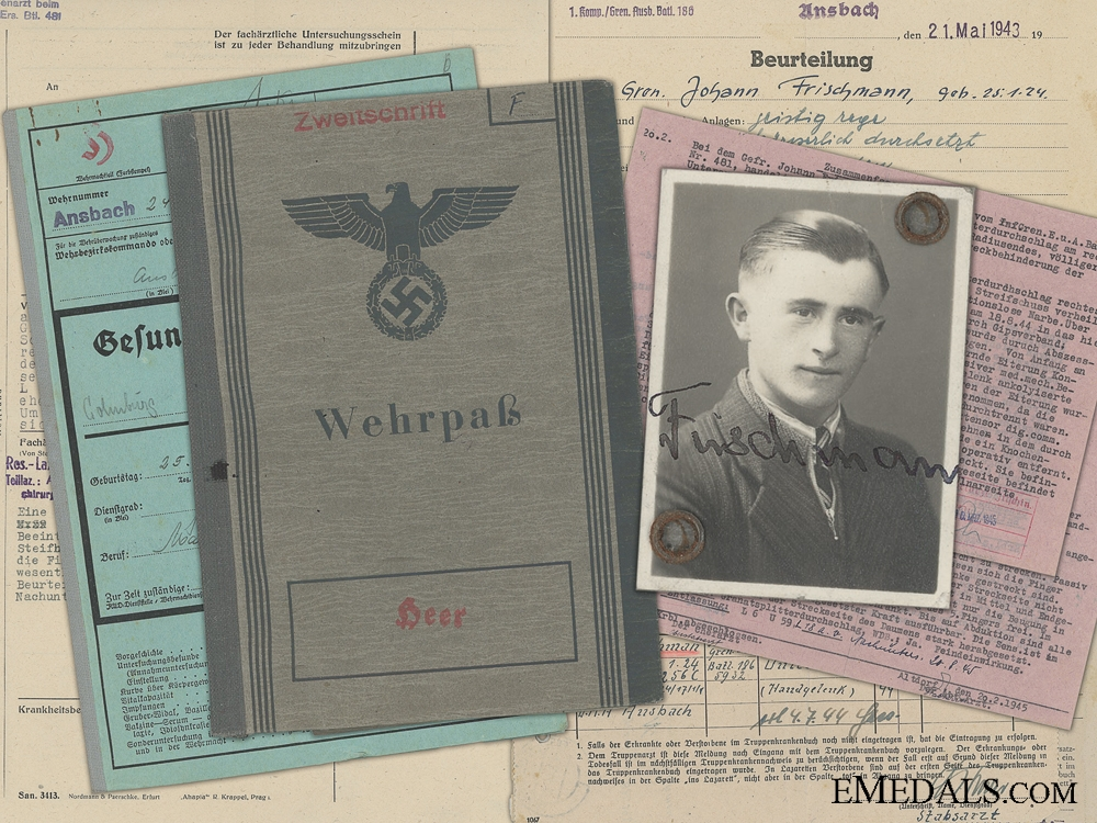 eMedals-A Wehrpass & Records to the  73rd Division; Grenade Wound