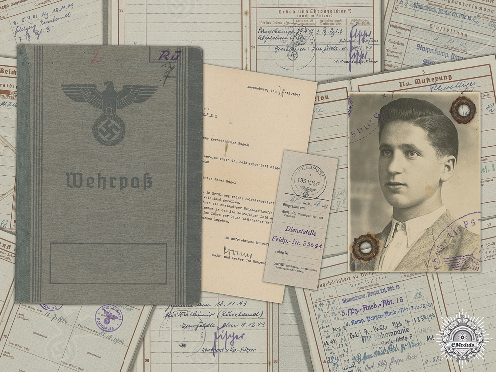 eMedals-A Wehrpass and Condolence Letter; 7th Panzer Regiment KIA