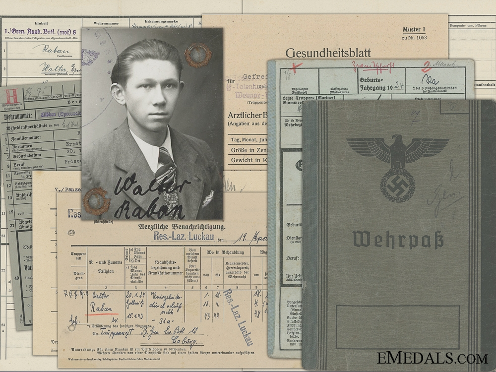 eMedals-A Wehrpass to the 12th Panzer Grenadier & SS-Totenkopf