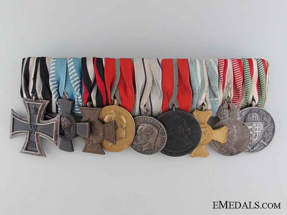 eMedals-A WWI Period Bavarian Nine Piece Medal Bar