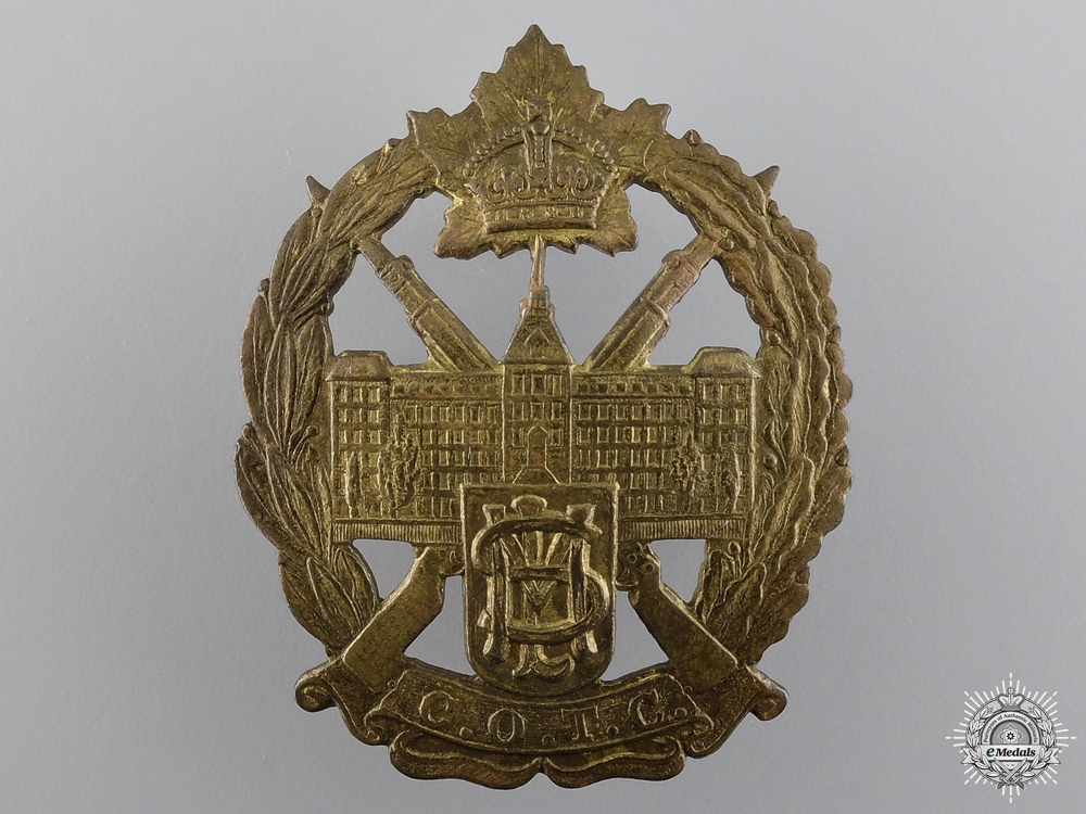 eMedals-A WWII Mount St. Louis College Canadian Officer Training Corps Cap Badge